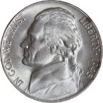 1945-P Jefferson War Nickel Obverse 35% Silver